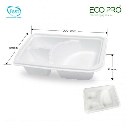 hộp giấy đựng cơm 3 ngăn fest bio 1000ml