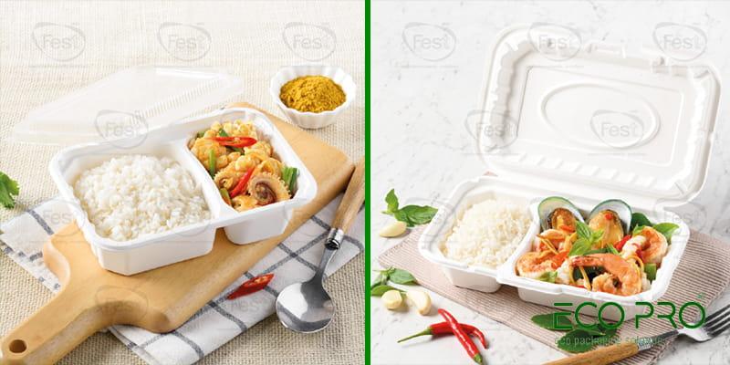 hộp giấy 600ml 2 ngăn cho quán ăn nhỏ